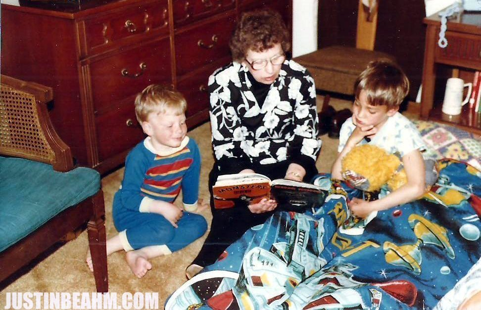 My Grandmother reading to my brother and I (and my Disco Duck doll). The book: Crestwood House's KING KONG.